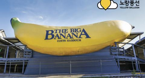 Sun shining over the sign welcoming visitors to The Big Banana attraction in Coffs Harbour