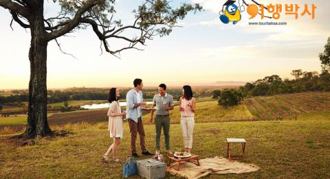 Friends enjoying a picnic at Audrey Wilkinson Wines, Hunter Valley